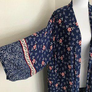 Cotton On boho blue white long kimono size medium